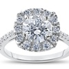 2 1/2ct SI/G Round Cut Diamond Solitaire Engagement Ring Gold Enhanced Halo