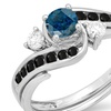 0.90 Ctw 14K White Gold Blue, Black & Genuine Diamond Ladies Ring Set