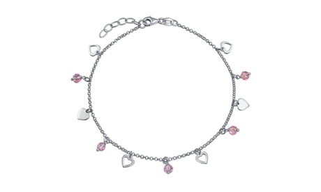 Heart Crystal Pink Anklet Charms Anklet Sterling Silver 9 -10 In