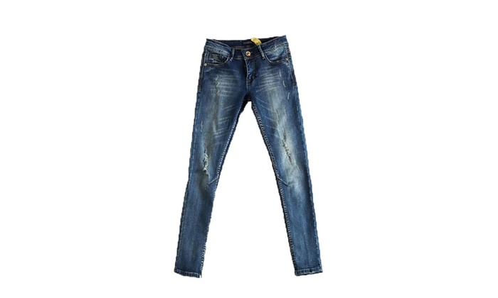 Women's Vintage Solid Mid-Rise Solid Denim Jeans