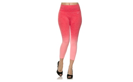 Coral Women Capri Leggings Cropped Ombre Yoga Pants Workout Activewear 7b9b21b9-b1c9-4377-9169-e574ac13e3e0