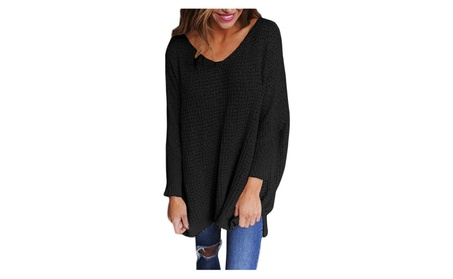 New Fashion Sweater Deep V Neck Solid Loose Knit Sweater Pullover 000cb226-ef77-4967-a259-5d962438951b