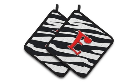 Carolines Treasures CJ1024-EPTHD Monogram Initial E Zebra Red Pair of Pot Holder photo