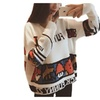 Women Pullover Printed Fall Loose Top Knit Sweater