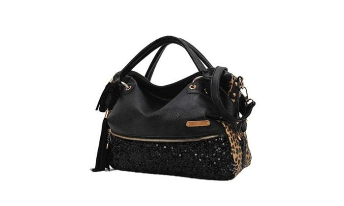 Handbag Fashion Hobo Style Sequin PU Leather Shoulder Bag for Women