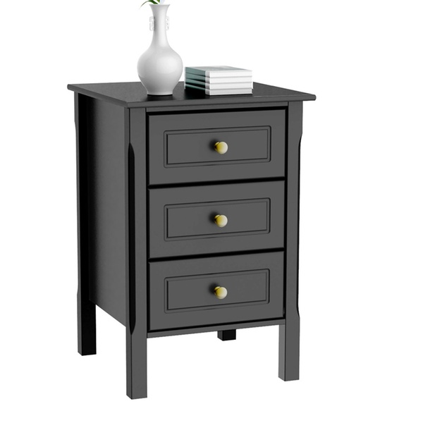 3 Drawers Nightstand Tall End Table Storage Wood Cabinet Bedroom Side