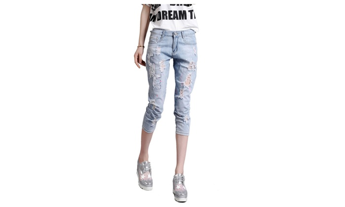 Women's Fashion Ripped Distressed 3/4 Length Denim Jeans