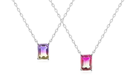 Lesa Michele Simulated Ombre Tourmaline Necklace in Sterling Silver 9f56235a-54e7-4bc6-a25f-774ee45a884a