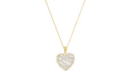 Sterling Silver Pave Round/Baguette CZ Heart Pendant Cable Chain Necklace 5873a7e7-dfd6-496d-bc3f-95d75aaf51ed