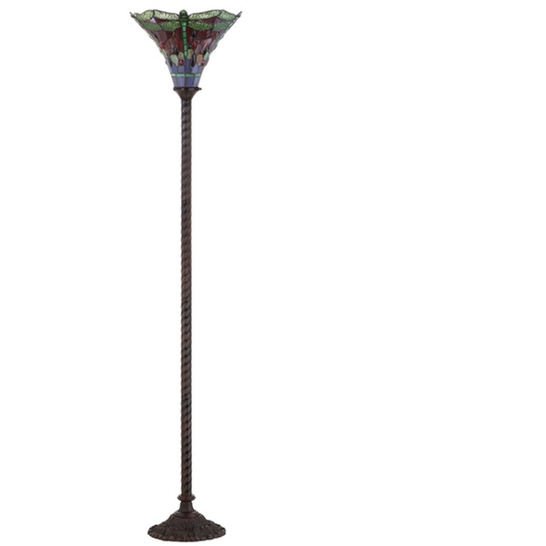 Dragonfly Tiffany Style 71 Torchiere Floor Lamp Bronze Green By