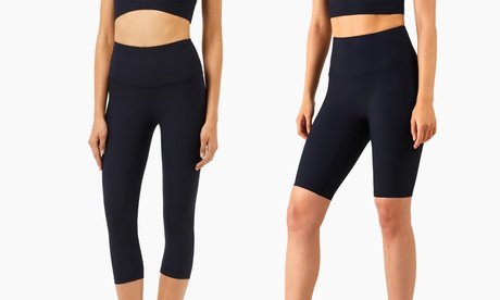 Ribbed Nude Yoga Gym Sports Pants No T-line Five-Point Pants & Cropped Pants