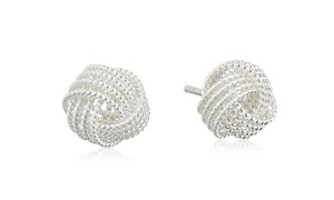 Love Knot Stud Earrings in Sterling Silver Gifts for Bridesmaid