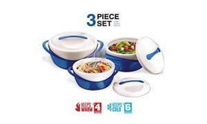 Pinnacle Casserole Dish Insulated Serving Bowl Set with Lid (3-Piece)