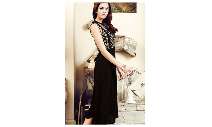 Womens Elegant Flower Pleated Waist Sleevelss Long Dress – ZWWD222