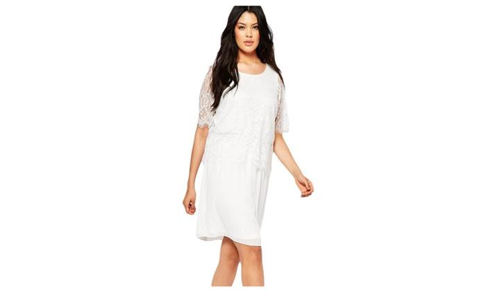 Women's White Eyelash Lace Overlay Chiffon Swing Dress