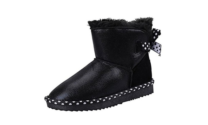 Womens Faux Fur Lined Slip-on PU Vamp Waterproof Ankle Snow Boots