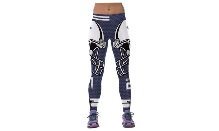 4PING Women's Rugby Printing Sports Pants Fitness Pants Leggings Blue