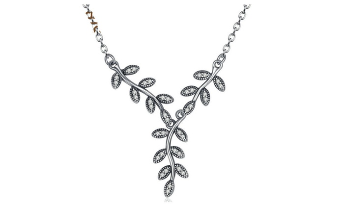 Sparkling leaves long 925 sterling silver pendant necklace for women aloadofball Choice Image