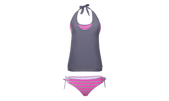 Women's Layered Tankini Rosy Grey Striped 2pcs Bathing Suit