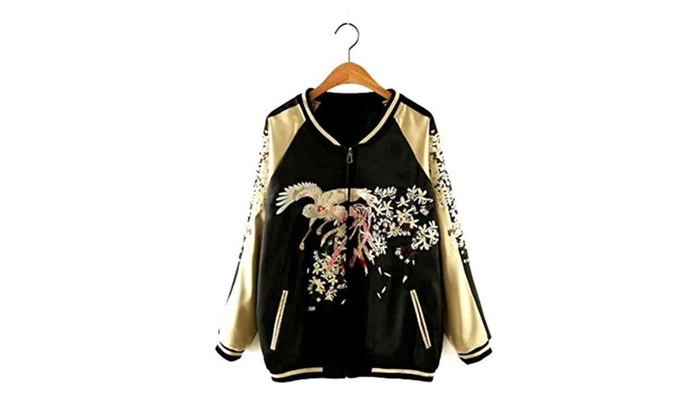 Women's Girls Reversible Lightweight Satin Bird Embroider Bomber Jacket Black