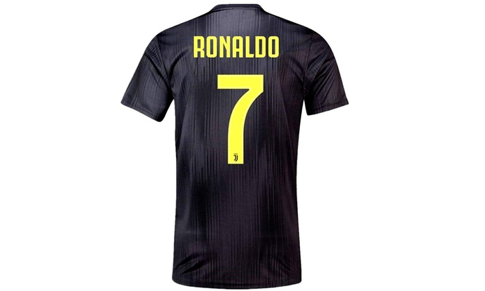 hot sale online b1ea8 9a552 binkafe 2018-2019 Juventus Cristiano Ronaldo #7 Away Soccer Jersey Mens  Black