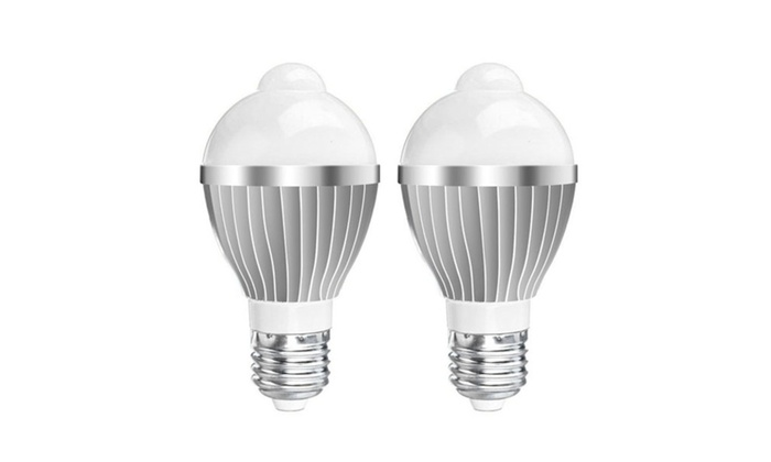 2-Pack E27 5W Motion Detecting LED Light Bulbs