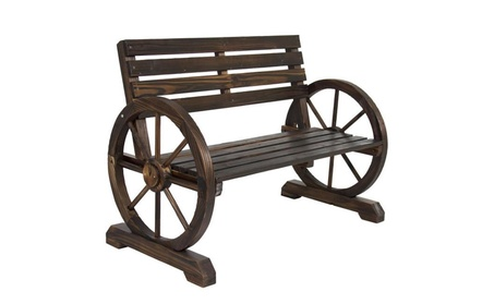 Wooden Wagon Wheel Bench Rustic Wood Design Outdoor Furniture 0f3b0d2b-6e18-4c5c-bb1f-b175eb19870d