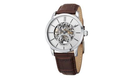 Stuhrling Original Men's Mechanical Skeletonized Genuine Leather Strap Watch eb7bda00-2726-4851-97da-8adcf67651e0