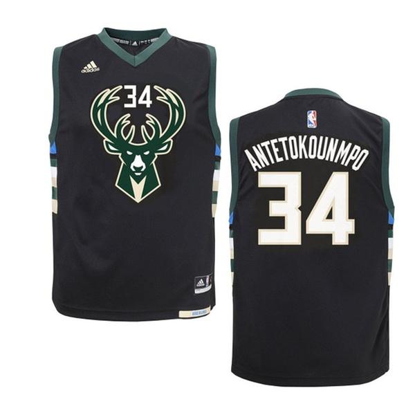 super popular d5510 160d6 Milwaukee Bucks Giannis Antetokounmpo Black Alternate Youth Jersey