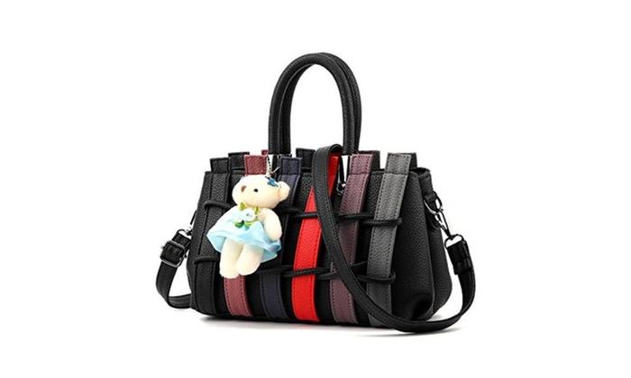 Women Handbags Color Band Top-handle Tote Ladies Bags