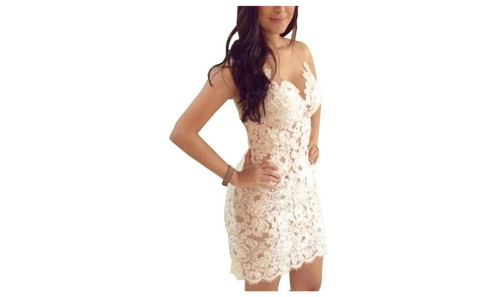 Womens Sexy Hollow Out Lace V Neck Cocktail Party Clubwear Mini Dress