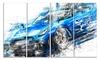 Burning Rubber Blue Super - Super Car Canvas Art