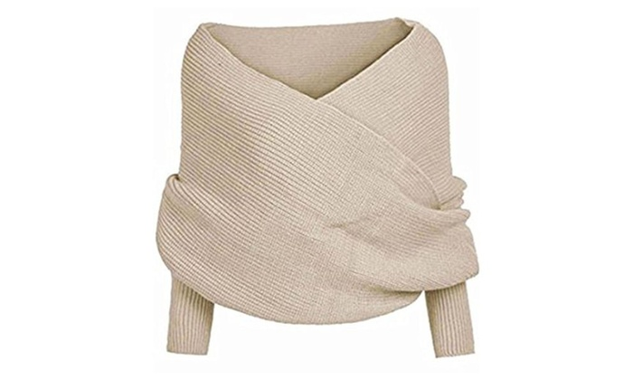 Bonaweite Women Fashion Crochet Knitted Pullover Sweater Cross Scarf Wraps Shawl