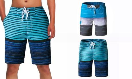 2 Pcs Mens Swim Trunks Bathing Suit Quick Dry Striped Beachwear Swimwear Shorts
