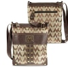 Zodaca Jacquard Fabric Crossbody Bag Brown