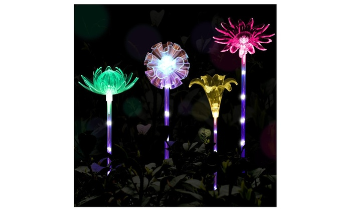 4pcs Solar Garden Lights Outdoor Garden Stake Lights Multi Color ...