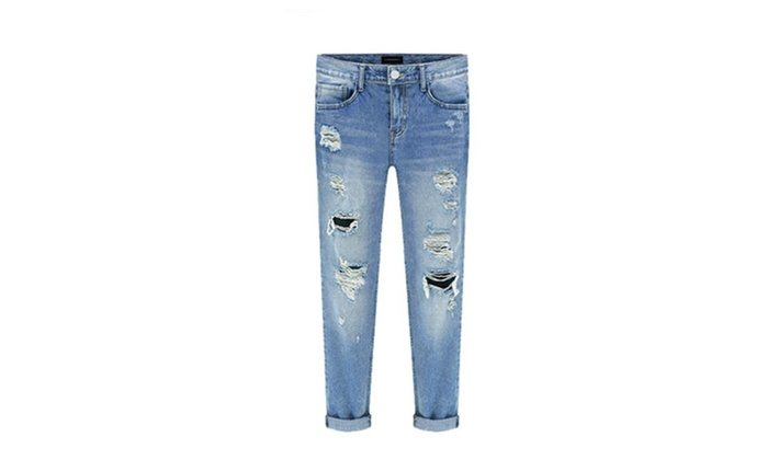 Jonar: Roll Up Relaxed Stretch Skinny Jeans in Distressed Medium Blue Wash