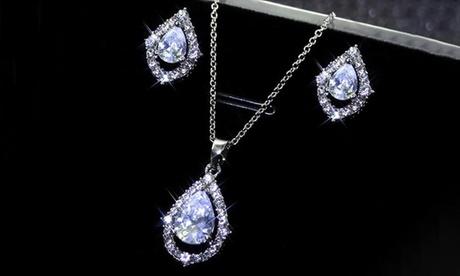 Leo Rosi Women's Water-Drop Crystal Jewelry Set