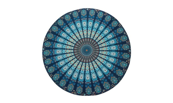 Peacock Print Round Beach Blankets Hippy Boho Cotton Beach Towel