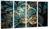 Symmetrical Blue Gold Fractal Flower - Digital Art Metal Wall Art