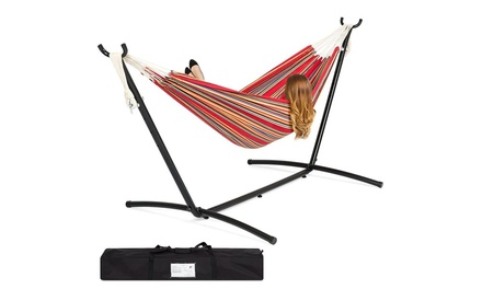 Double XL Cotton Hammock with 9.5' Stand
