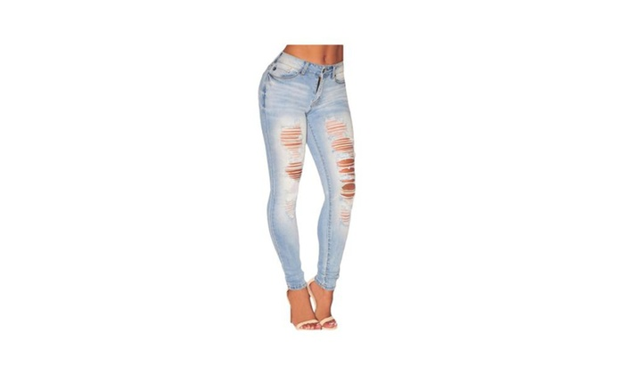 Womens Denim Jeans Destroy Skinny Leg Ripped Distressed Pants