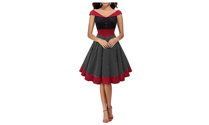Women Vintage Retro Pinup Party Prom Swing Housewife Swing Dress