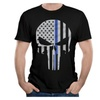 Men's Thin Blue Line Punisher Logo T-shirts Black