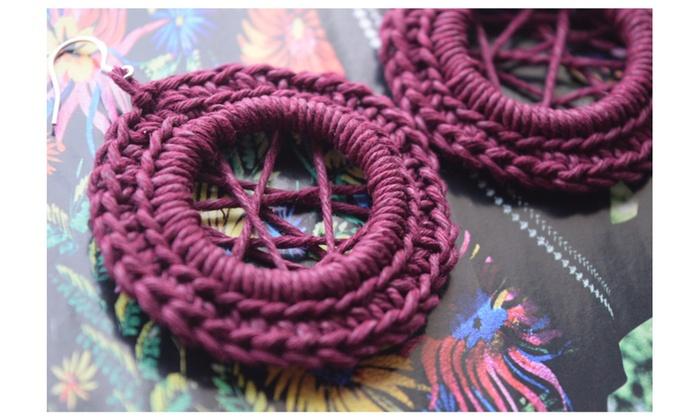 Sterling Silver Purple Hemp Crochet Earrings Groupon