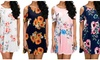 Womens Summer Casual Dresses Cold Shoulder Short Sleeve Swing Mini Dresss