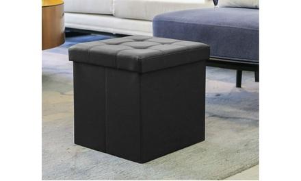 Folding Storage Ottoman Footrest Stool
