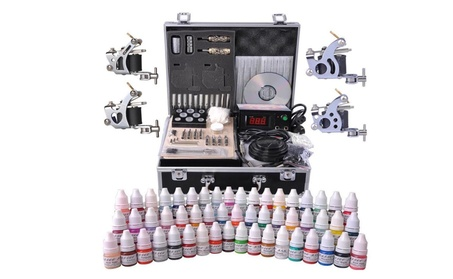 Tattoo Kit in Case 54 Color Ink 4 Machine Gun Set LCD Power Supply 6fece556-7e9c-4535-a9a8-e7df86f4c46f