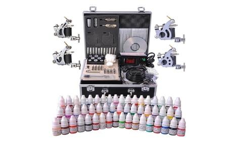 Complete Tattoo Kit in Case 54 Color Inks 2 Machine Guns Set LCD bceb4235-ea25-45b5-b669-b07463814098