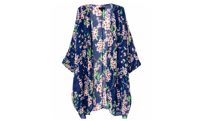 Women's Floral Print Sheer Chiffon Loose Kimono Cardigan Capes ...